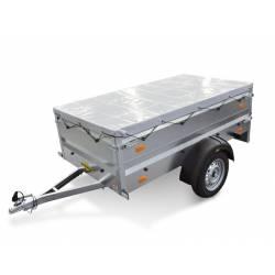 """PKW-Anhänger, Humbaur Einachsanhänger """"STEELY"""" mit Aufsatzwände 300mm und Flachplane grau, 750kg, bei HP-Anhänger"""