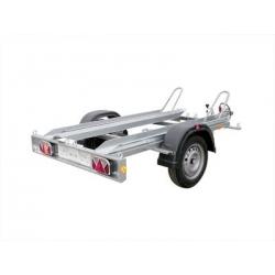 Motorradanhänger, PKW-Anhänger Pongratz E-MA 750 U,  ungebremst 750 kg, 2 Stellschinenen, 1 Auffahrtschiene,